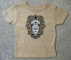 Sugar Skull Style LION Baby T Khaki Shirt by HappyGoatDesigns
