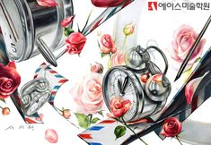 '노원미술학원'의 '자명종시계, 장미꽃을 소재로 한 화사한 분위기의 입시 '기초디자인 연구작' : 네이버 블로그