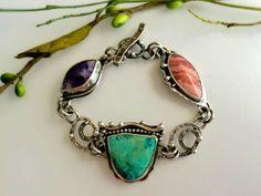Bertrandite, Chrysocolla, and Rhodochrosite Link Bracelet Bonnie Hedden Designs