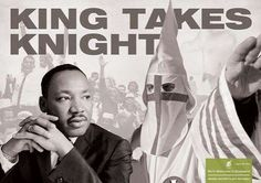 """The campaign, """"Hide and seek,"""" for the World Association of Newpapers shows civil rights activist, MLK, next to a member of the KKK.  http://www.trendhunter.com/trends/political-print-ads-hide-and-seek-by-the-world-association-of-newspapers"""