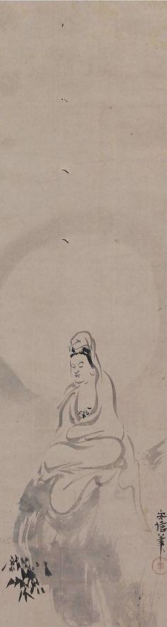 Kannon, the Bodhisattva of Compassion, Kano Yasunobu (1613-1685), Japanese scroll painting.