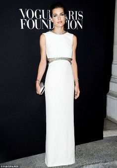 Charlotte Casiraghi of Monaco looked incredible in a floor-length sweeping white gown at the Vogue Foundation Gala in Paris http://dailym.ai/1nb4UBY
