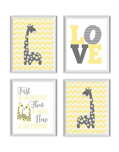 Giraffes Nursery Decor Girl Boy Gender Neutral Love by ModishCC