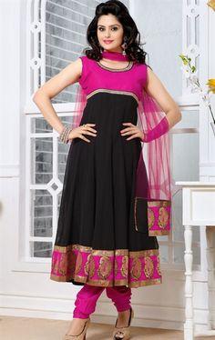 Picture of Ideal Black and Deep Pink Color Indian Salwar Kameez