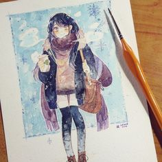 Commission for KatNikki by Mappiee on DeviantArt Anime Art, Artist Painting, Watercolor Girl, Watercolor Art, Colorful Art, Manga Watercolor, Illustration Art, Art, Anime Drawings Tutorials
