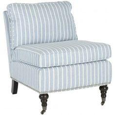 Pinstripe slipper chair.