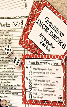 Looking for ideas to increase engagement with your students? DICE DECKS interactive task cards teach specific skills while keeping their attention! Great for individual, small group (speech therapy, RTI, etc.), or even whole-class learning. Click to view this Irregular Verbs grammar set!