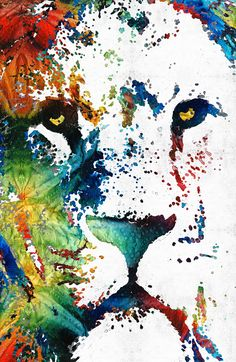 """Colorful Lion"" New Art Mixed Media Painting Sharon Cummings 2014 Today is one of those days where I just don't seem to be able to get anything done! I've been spinning my wheels all morning..."