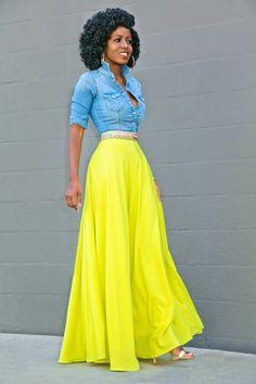 denim shirt + yellow maxi skirt The Best of fashion trends in – New York Fashion New Trends Yellow Skirt Outfits, Neon Yellow Dresses, Yellow Maxi Skirts, Maxi Skirt Outfits, Dress Skirt, Maxi Dresses, Denim Maxi, Fitted Denim Shirt, Denim Blouse