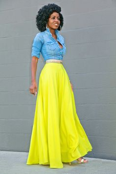 Fitted Denim Neon Maxi Skirt   Style Pantry   neon yellow maxi skirt, neon yellow skirt, denim maxi skirt, neon denim skirt