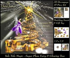 Yule Tide Magic   Sugar Plum Fairy   The Glowing Christmas Tree 6   3D Decoupage Unique Design kit   Insert   Gift Tag on Craftsuprint - View Now!