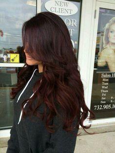 Dark burgundy hair for tan skin | Hair | Pinterest