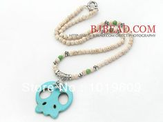 New Fashion Long White Beads White Howlite Necklace with Green Turquoise Skull Pendant Free shipping