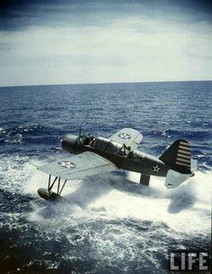 Vought Kingfisher OS2U floatplane in US Navy service - standard scout plane on USN surface ships in WW II.