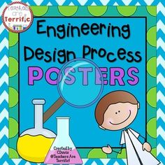 "Posters for your Science displays!Need a great bulletin board idea or a way to display the steps of the engineering process? Here's a terrific set of posters!This set outlines the Engineering Design Process with cute graphics of kid scientists. Descriptions have been added to each step in ""kid-friendly"" language.*** There are TWO sets of half-size posters with different colors and backgrounds."