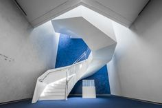 A curving feature staircase