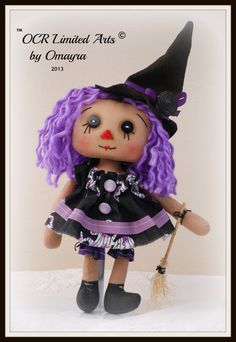 Raggedy Annie Violet Witch cute Halloween ooak by OCRLimitedArts, $30.00