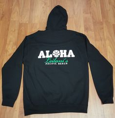 "HIC ""Aloha Leilanis"" Black with Green Zip-Up Womens Hoodie"