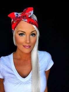 New England Patriots Red White Blue Dolly Bow Reversible Pinup Rockabilly Dolly Bow Headband Headscarf Hair Band Head Wrap Accessories
