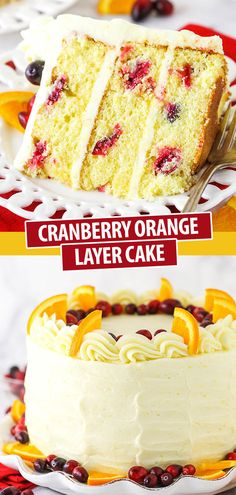 Cranberry Orange Layer Cake - Life Love and Sugar Cranberry Orange Cake, Cranberry Dessert, Orange Cakes, Cranberry Recipes, Orange Recipes, Layer Cake Recipes, Dessert Recipes, Orange Layer Cake Recipe, Layer Cakes