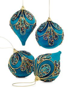 Holiday Lane Set of 4 Peacock Ball & Drop Ornaments - Christmas Ornaments - Holiday Lane - Macy's Peacock Christmas Tree, Peacock Ornaments, Beaded Christmas Ornaments, Painted Ornaments, Handmade Ornaments, Blue Christmas, Christmas Crafts, Hanging Ornaments, Turquoise Christmas
