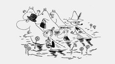 Characters from Moomin- a hugely famous Finnish comic by Tove Jansson Adult Coloring, Coloring Pages, Moomin Valley, Fuzzy Felt, Tove Jansson, Children's Book Illustration, Stop Motion, Painting & Drawing, Art Museum