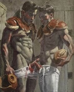 kimdavidsmithPre-game ritual for @smarkbeard #kimdavidsmith #markbeard #oilpainting #art #artist #lockerroom #football #buddies #crossingswords #gay #nyc #sport