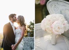 Malibu Wedding with Pryor Events   Peonies in the softest of pink, antiqued cymbidiums, and white and blush tone garden roses   Ocean