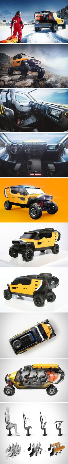Surgo is 4×4 offroad vechicle designed for rescue services in places an average ambulance would never reach. To make this possible, it sports an innovative suspension designed and prototyped by the Automotive Industry Institute in Warsaw. It has the ability to lock the entire body in a shifted position, a system of additional springs/shock absorbers. This allows unprecedented offroad capabilities and near limitless reach.