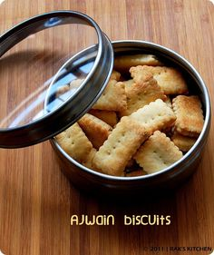 Ajwain biscuits: All purpose flour-1 1/2 cup Oil- 1/4 cup Ghee or butter- 1 tsp Ajwain-1 tsp heaped Salt 3/4 tsp Sugar- 1 1/2 tbls Milk - 6 tbls Curd - 1 tblsp