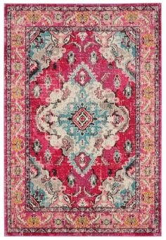http://www.target.com/p/monaco-rug-pink-multi-3-x5-safavieh/-/A-51301313 Color too red? This look though.