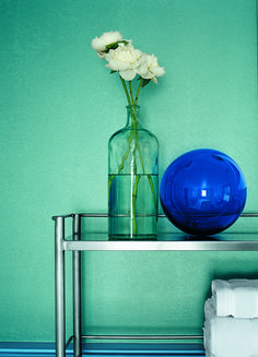 Add unexpected texture to a powder room with a cool shade of Ralph Lauren Paint Metallic Specialty Finish