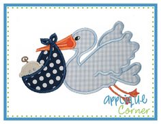 Stork and Baby Boy Applique Design