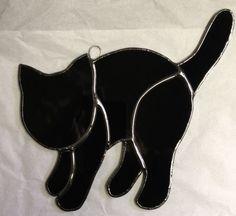 Handcrafted Stained Glass Black Cat Spooky Cat by craftycleo, $15.00