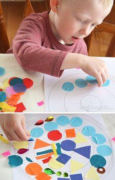 O resultado pode ser bemmm bonito, tudo depende do artista. A ideia aqui é   usar papéis coloridos construindo imagens com cores e formas no papel contato.   ...