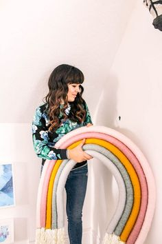 How to Make an Oversized Rainbow Wall Hanging - at home with Ashley - Trend Rainbow Clothes 2020