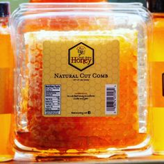 Cut honeycomb direct from our honeybees to you. The most natural raw honey possible. Comes in a clam shell plastic container that will hold the natural honey and comb inside. The comb is a inch square roughly weighing pound. Yogurt Dessert, Honey Packaging, Quick Vegetarian Meals, Healthy Yogurt, Piece Of Bread, Eating Raw, Raw Honey, Honeycomb, Nutrition