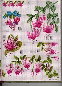 fushia - Good for bead weaving with delica beads Cute Cross Stitch, Cross Stitch Flowers, Cross Stitch Charts, Cross Stitch Designs, Cross Stitch Patterns, Cross Stitching, Cross Stitch Embroidery, Embroidery Patterns, Hand Embroidery