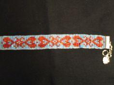 Handmade Loom Beaded Bracelet, Love Inspired, Hearts by HappyOtterBeading on Etsy