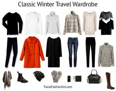 Classic Packing List for Winter (Cold Weather) Travel Classic Packing List Spring 2013 – Travel Fashion Girl – Travel Tips – Packing Winter Travel Outfit, Winter Outfits, Winter Packing, Travel Wardrobe, Capsule Wardrobe, Look Fashion, Winter Fashion, Classic Fashion, Fashion Black