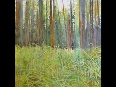 How to paint trees and grass with watercolor and mixed media, a time lapse video on ARTiful, painting demos blog by Sandrine Pelissier