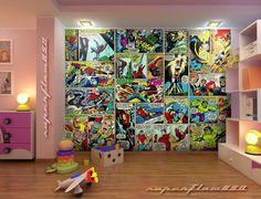 marvel comics mural wallpapers bedroom comic boy heroes backgrounds boys bedrooms avengers wallpapersafari sergis concepts desktop