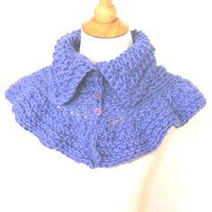 Ruffled Knit Capelet Wrap Collar - Lavender Alpaca.