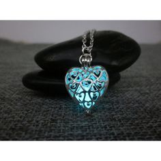 Glow In The Dark Necklace,Silver Plated glowing Heart necklace,glowing... ($23) ❤ liked on Polyvore featuring jewelry, necklaces, pendant necklace, pendant jewelry, handcrafted necklaces, silver plated pendants and heart pendant