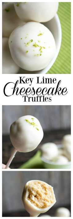 Key Lime Cheesecake Truffles- easy to make and SO delicious! Key Lime Cheesecake Truffles- easy to make and SO delicious! Key Lime Desserts, Köstliche Desserts, Delicious Desserts, Dessert Recipes, Yummy Food, Summer Desserts, Lemon Desserts, Cheesecake Truffles Recipe, Key Lime Cheesecake