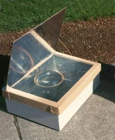 Solar cooker -- easier than a crock pot while camping and a simple project to build. This model will achieve 400 degrees F so you can bake biscuits as well as slow cook a stew!, I want one of these for the next time the power goes off.