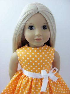 Peach Orange and White Dot  Doll Dress for the American Girl Doll