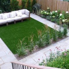 Hardscaping ideas frim hgtv.com. Artificial grass abd a path for kids. Love it