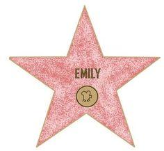 kalender ster (sponzen met roze en blauw) met gouden letters en foto