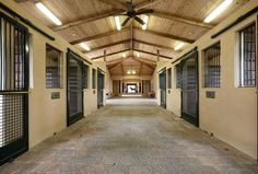 The 18 stall barn includes staff quarters, tack room and an owners lounge. Seven large paddocks surround the facility.